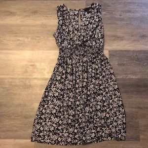 Dresses & Skirts - Black and white floral faux wrap front dress
